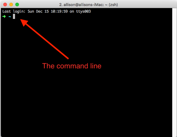 Screenshot of my terminal with an arrow pointing at the command line